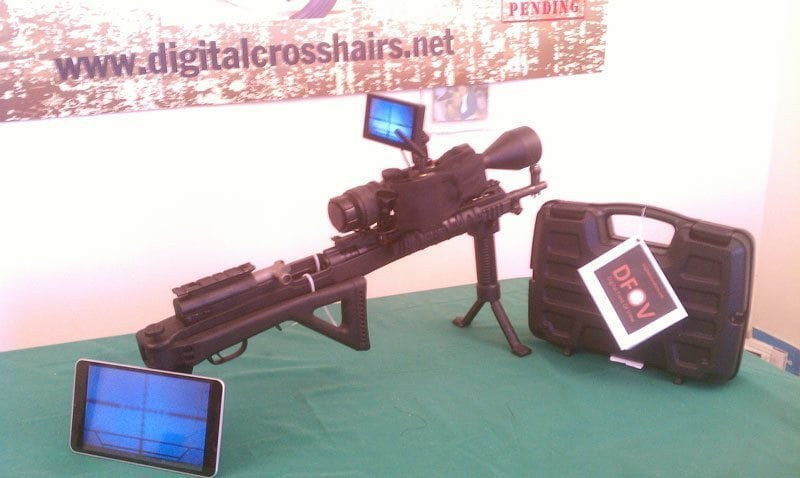 Digital Crosshairs mounted on a gun with the WiFi smart phone App. The first picture shows the crosshairs of the scope mounted on an SKS transmitted to an Android tablet.